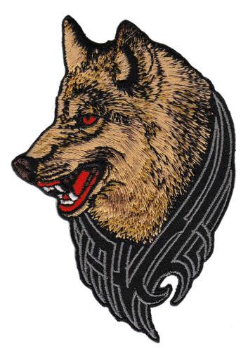 ad68 Wolf Hund Tattoo MC Biker Kutte DIY Aufnäher Bügelbild Flicken 7,5 x 10 cm