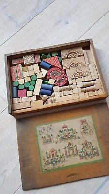 Antikes Holzspielzeug Konstruktionskasten Baukastenbauklötze Farbig 20er Jahre