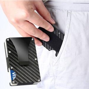 Carbon Fiber Slim Bank Debit Card Holder Money Clip Business Wallet Purse