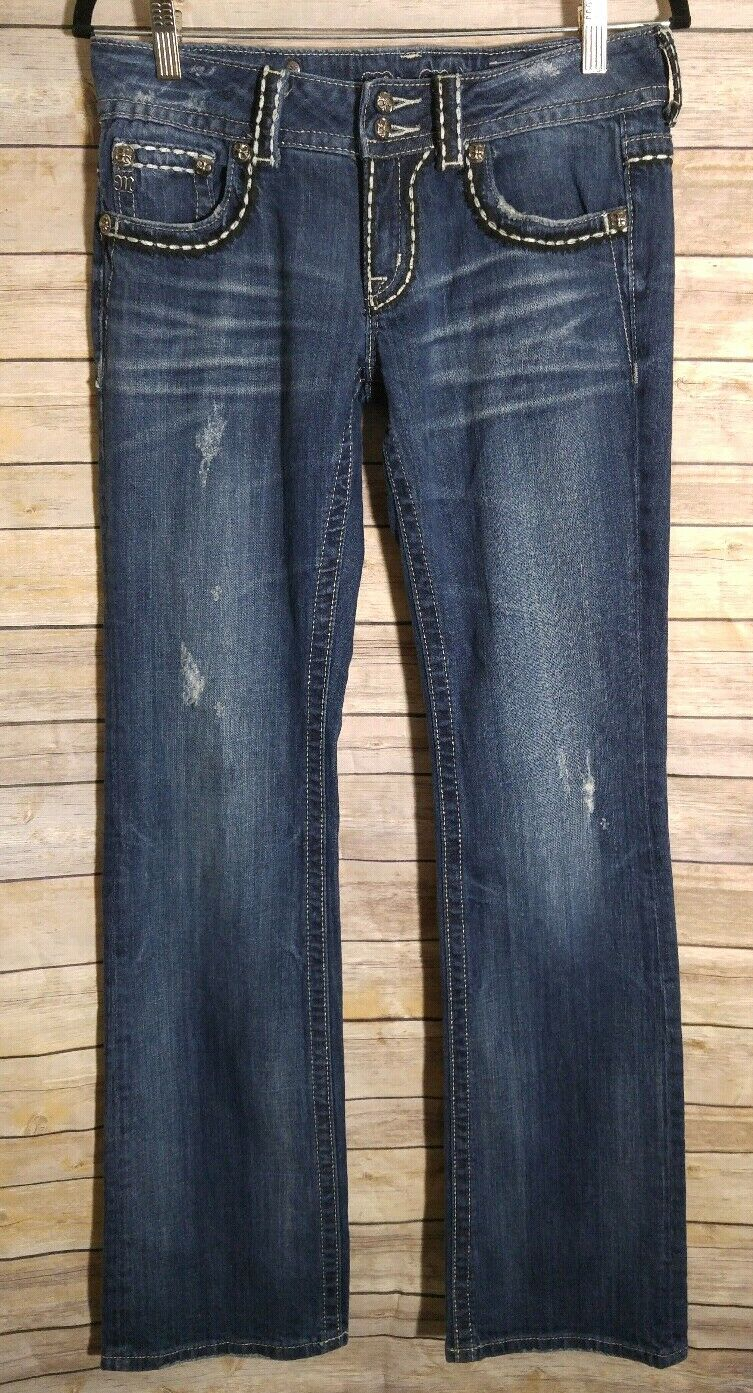 Miss Me JP5142 Rhinestone  Embellished Distressed Boot Cut Jeans Womens Size 29