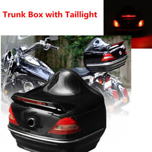 Motorcycle Trunk Box w//Taillight Stop Turn Light For  Suzuki Cruiser Honda