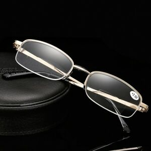 a56dad42bf8 Image is loading Mens-Bifocal-Reading-Glasses-Half-Rimless-Rectangle-Gold-