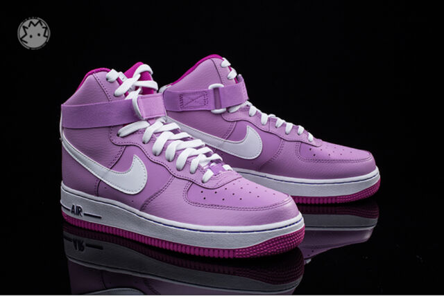 43f4ffa813 NIKE AIR FORCE 1 High BUBBLE GUM Girls Shoes 653998 Pink & Purple Size  Youth 7Y
