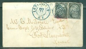 US -73 PAIR OF ANDREW JACKSON ON COVER CANCEL.FEB.11 BLACK CANCEL.