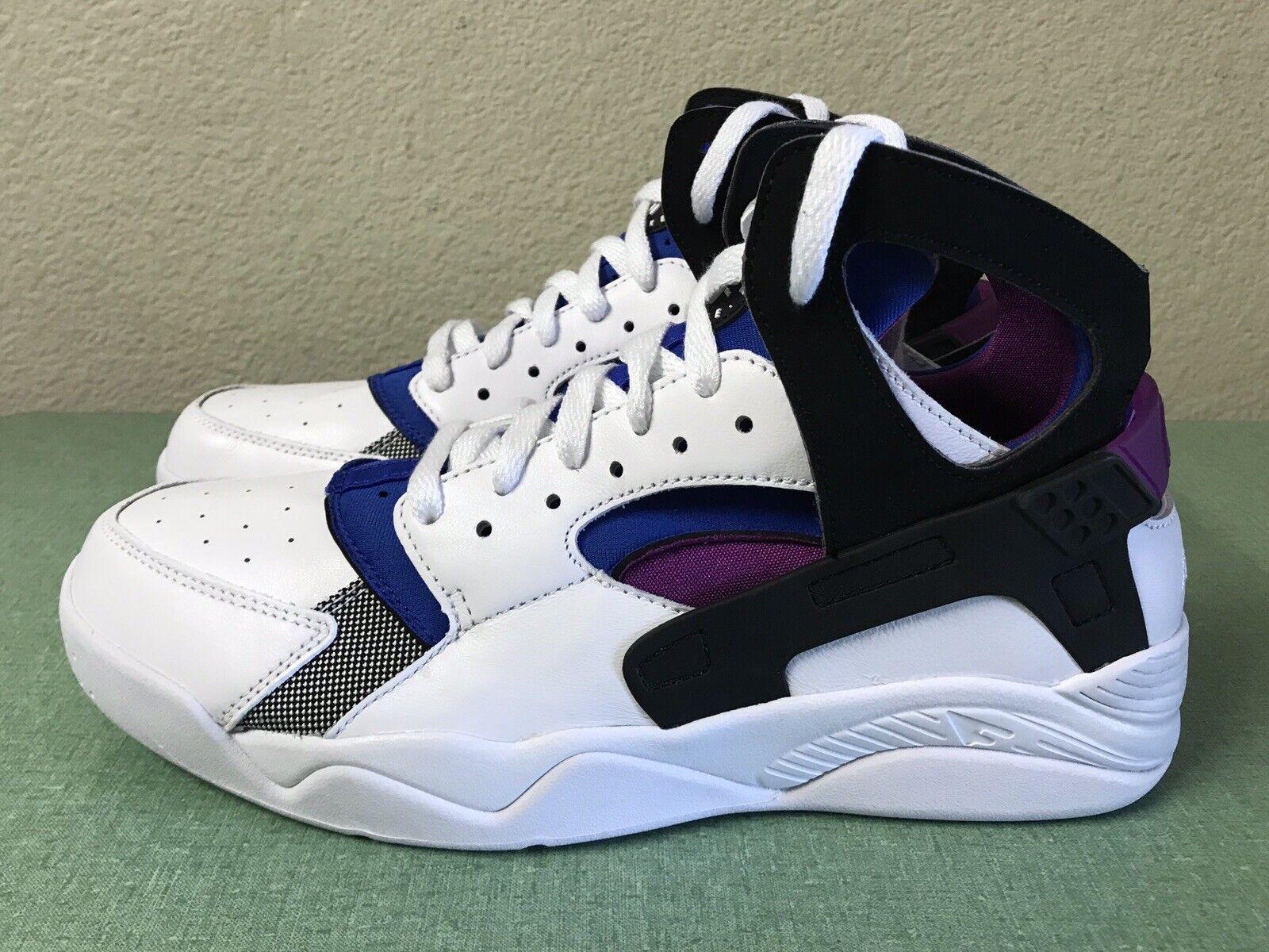 Nike Air Flight Huarache PRM QS Noir Blanc Bleu Violet Homme Sz 10 Basketball