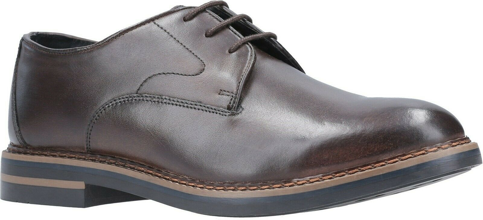 Base London Wayne burnished cocoa leather mens lace up derby schuhe