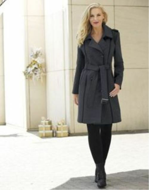 NEW WOMENS MONROE & MAIN CHARCOAL BUTTON FRONT WOOL BLEND COAT SIZE XL