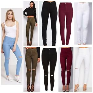 fc3fe073606c7 Ladies Ripped Knee Sexy Skinny Jeans Womens High Waisted Jegging 6 8 ...