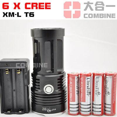 SKYRAY 8500Lm 6x CREE XM-L T6 LED Flashlight Torch 4x 18650 Light Charger Black