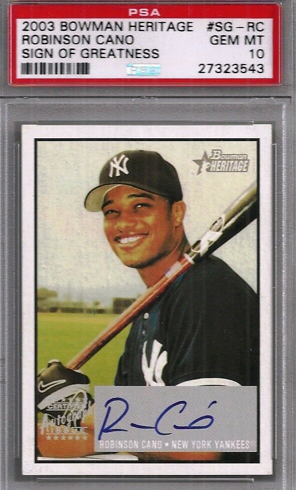 2003 Bowman Heritage ROBINSON CANO Signs of Greatness Auto PSA 10 GEM MINT RC | eBay