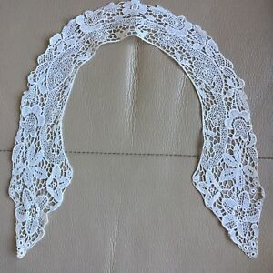 Edwardian-Antique-Lace-Collar-Schiffli-White-Bridal-Project-Floral-Vintage-Retro