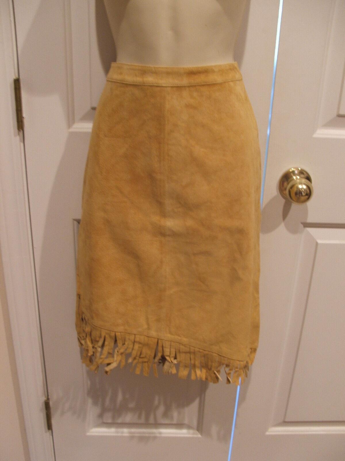 NWT   219  Newport news antique gold fringed hem suede skirt size 10