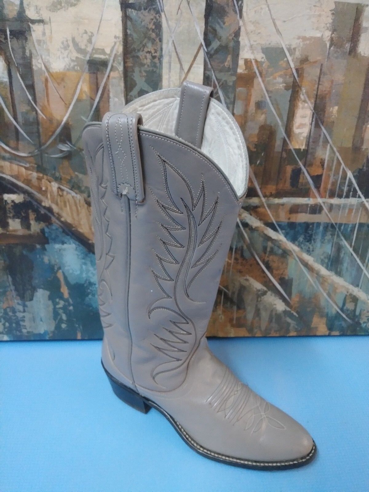 Unknown Brand para hombre botas de vaquero occidental de Cuero Beige Jaspeado 6 M