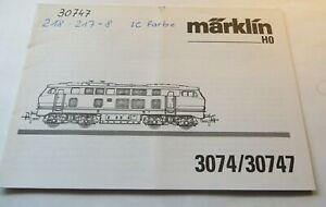 For Märklin H0 3074/30747 Description And Maintenance Manual