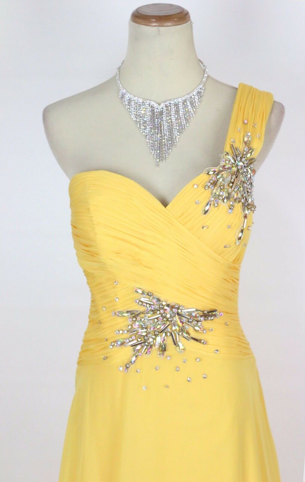 New TONY BOWLS 112535 Authentic Yellow Beaded Wedding Ball Evening Women Gown 4