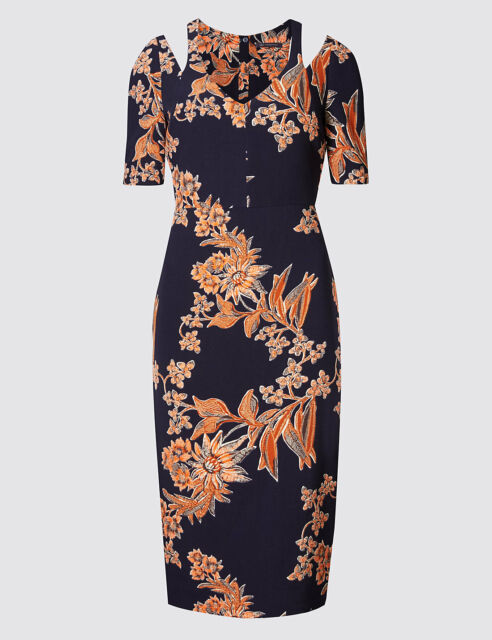 M&S floral Printed navy blue Cold Shoulder Bodycon 3/4 sleeve Dress uk size 8-16