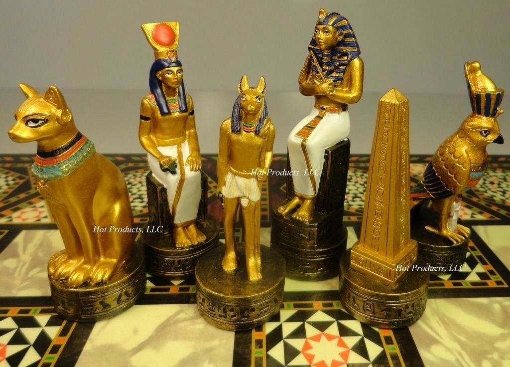 Egyptian Chess Uomo Set oro & Buff Color - NO BOARD egypt