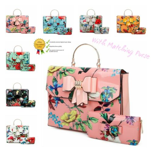 Women/'s Square Shape Floral Pattern Hand Bag With Bow Detail And Matching Purse