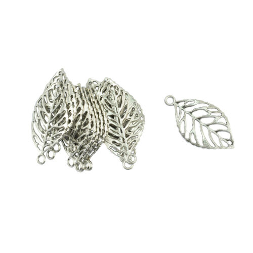 20 Pcs Silver Hollow Rose Leaf Vein Fashion Pendants Connector DIY Making