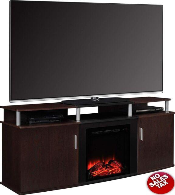 Fireplace Tv Stand Electric Heater Space Heat Media Storage Shelf