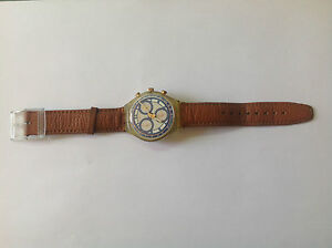 Used-Vintage-Watch-Watch-SWATCH-Quartz-Brown-Leather-For-Collectors-Used