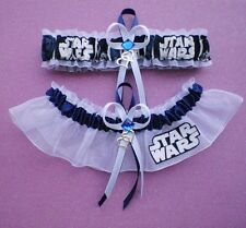 Star Wars Fabric Jewel Wedding Bridal Garter Set Double Heart Charm