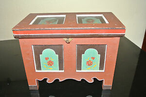 Old Small Bauer / Deckeltruhe With Castle/Chest With Painting - 1942 (2)