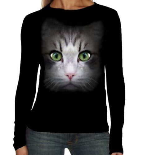 Velocitee Ragazze Manica Lunga T-Shirt CAT FACE FASHION FELINE KITTY mici a18218