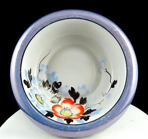 JAPAN-PORCELAIN-BLUE-LUSTER-WARE-FLORAL-ROLLED-SCALLOPED-RIM-8-1-2-034-BOWL