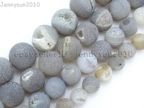 Natural Druzy Quartz Matte Grey Agate Gemstone Round Beads 15.5 10mm 12mm 14mm