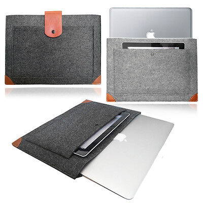 Slim Laptop notebook Felt Sleeve LEATHER STRAP Case Cover Bag for Apple MacBook