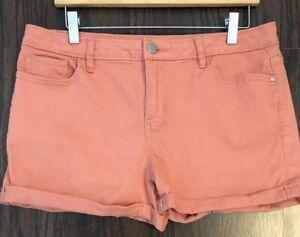 Lauren-Conrad-Shorts-Womens-Size-12-Peachy-Pink-Denim-Jean-Roll-Up-Stk085
