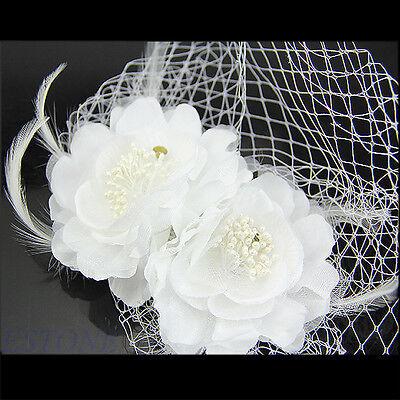 White Women Feather Flower Bride Birdcage Veil Fascinator Headdress With Comb