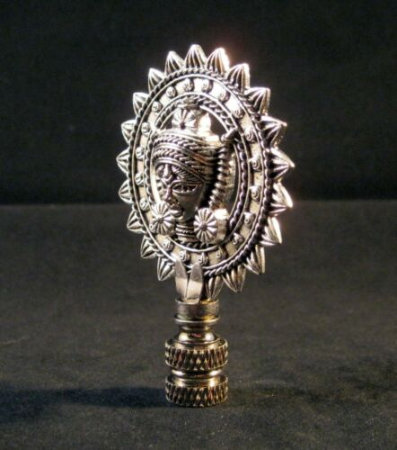 Lamp Finial-Antique Silver TIBETAN SUN GOD Lamp Finial-Satin Nickel Base