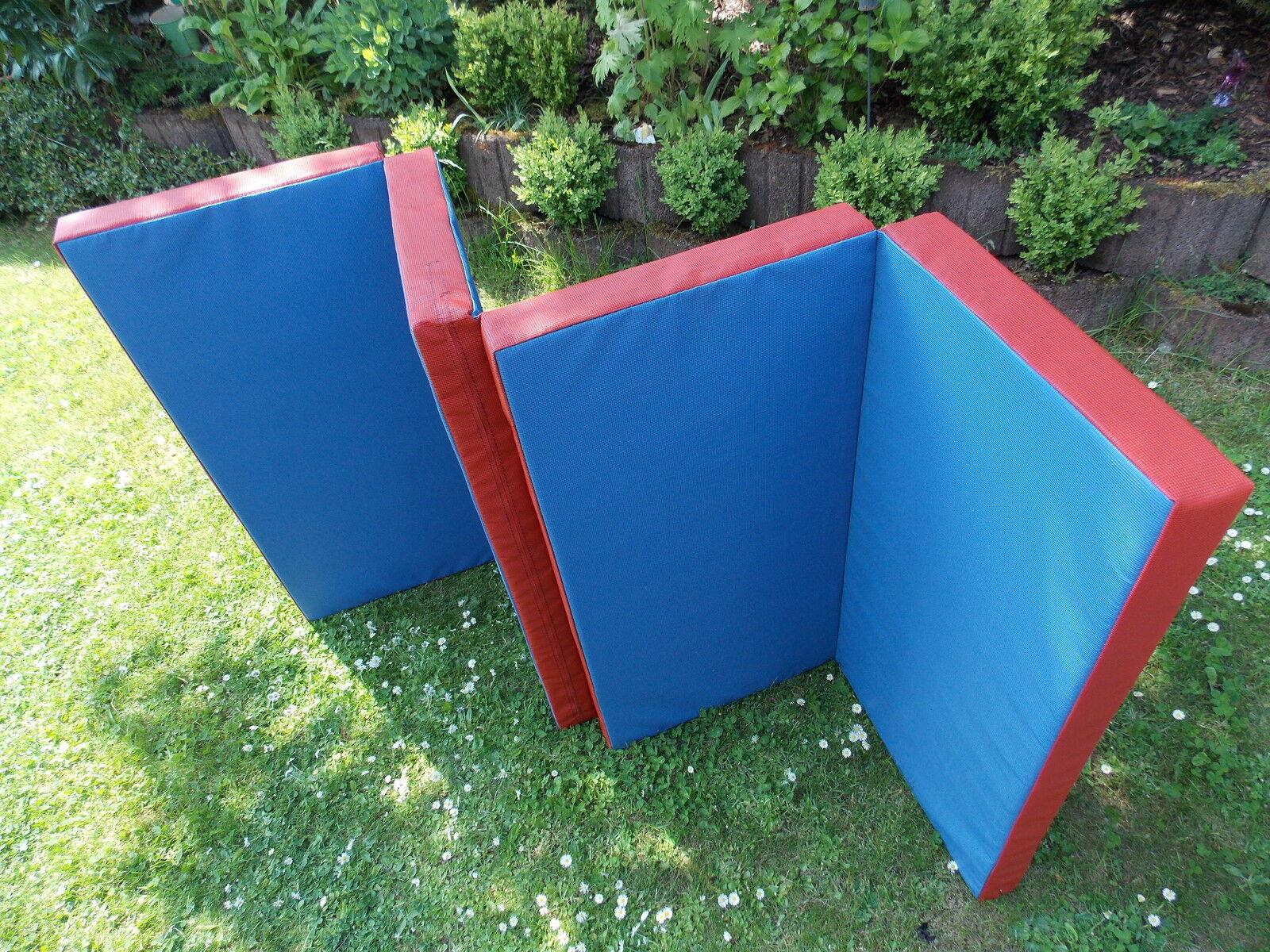 Weichbodenmatte, Turnmatte 200 x 100 x 8 cm - blau rot. 3 x klappbar