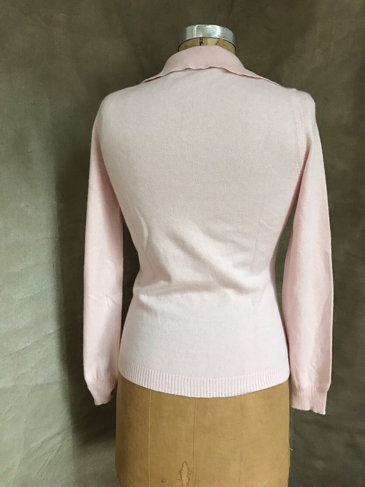 Women PINK CASHMERE Cotton Collar Sweater CRYSTAL… - image 4