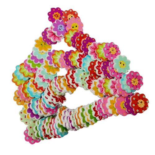 100 Stücke Multicolor Cartoon Blume Form Holz Tasten Zum Nähen Mit 2