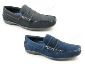 Mens-Leather-Loafers-Slip-On-Boat-Lightweight-Deck-Shoes-Casual-Office