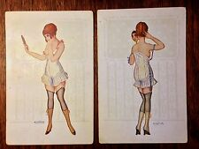 PAIR postcards - Nude Risque Lingerie Hose Boots Posing - Signed A Bertiglia