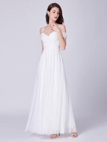 Ever-Pretty Lace Formal White V Neck Strapless Evening Dresses Cold Shoulder