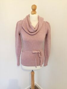 Monsoon-Pullover-Small-8-Pink-Roll-Neck-Wollmischung-Pretty-Bell-Armel-Herbst-j1