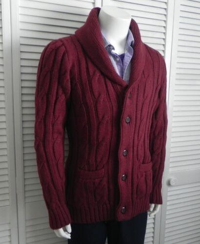 Collar mantón tamaño Perú Nuevo Cardigan Suéter de Rojo Alpaca para hombre Cable Borgoña 2xl HAAUgw
