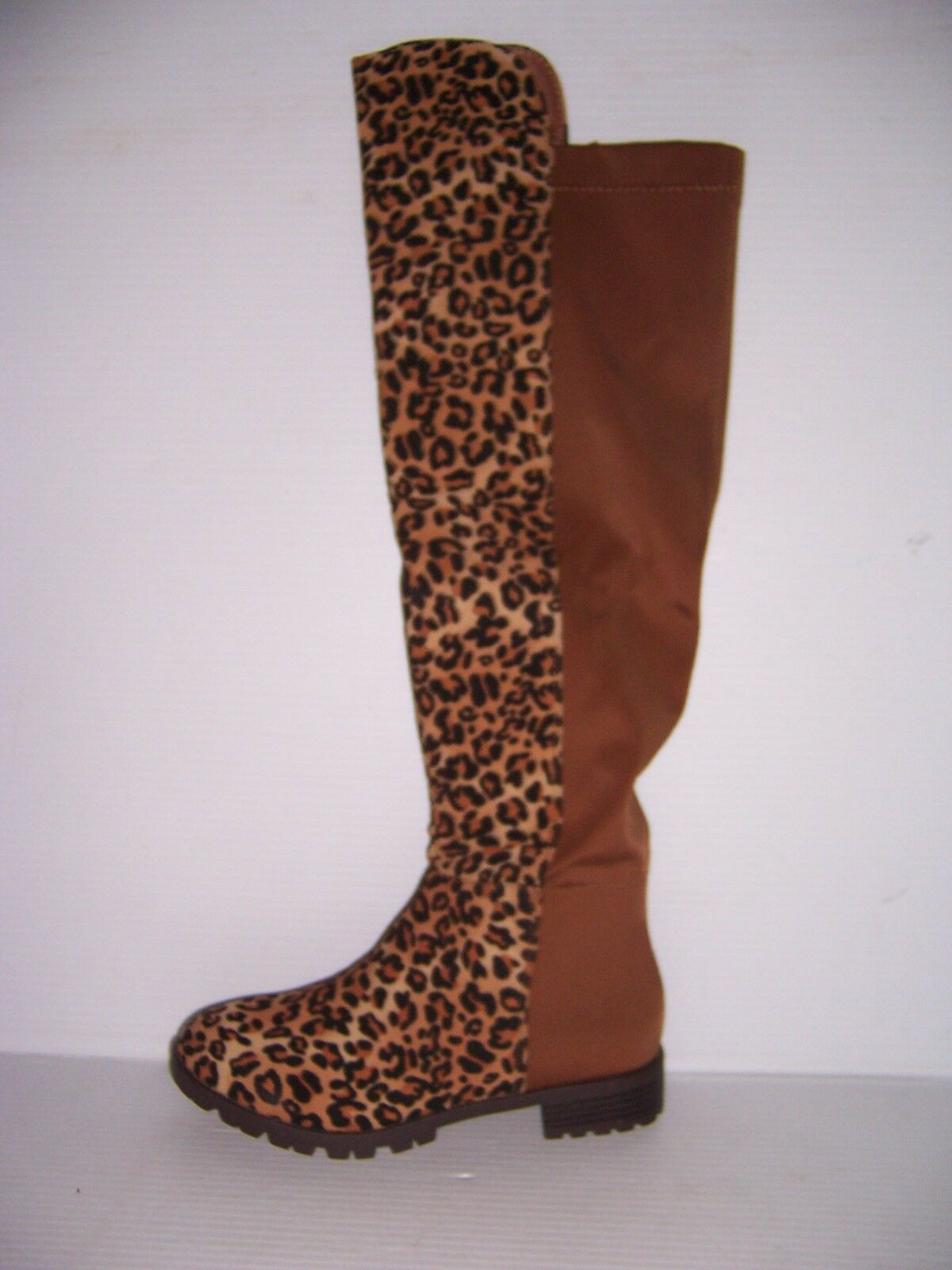 FOREVER FIFTY-50-3 Women's Two Tone Over The Knee Leopard Riding Boots 7.5 NEW