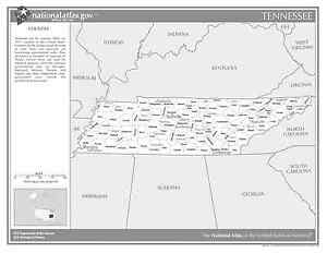 Tn State Map With Cities.Tennessee State Counties W Cities Black White Laminated Wall Map