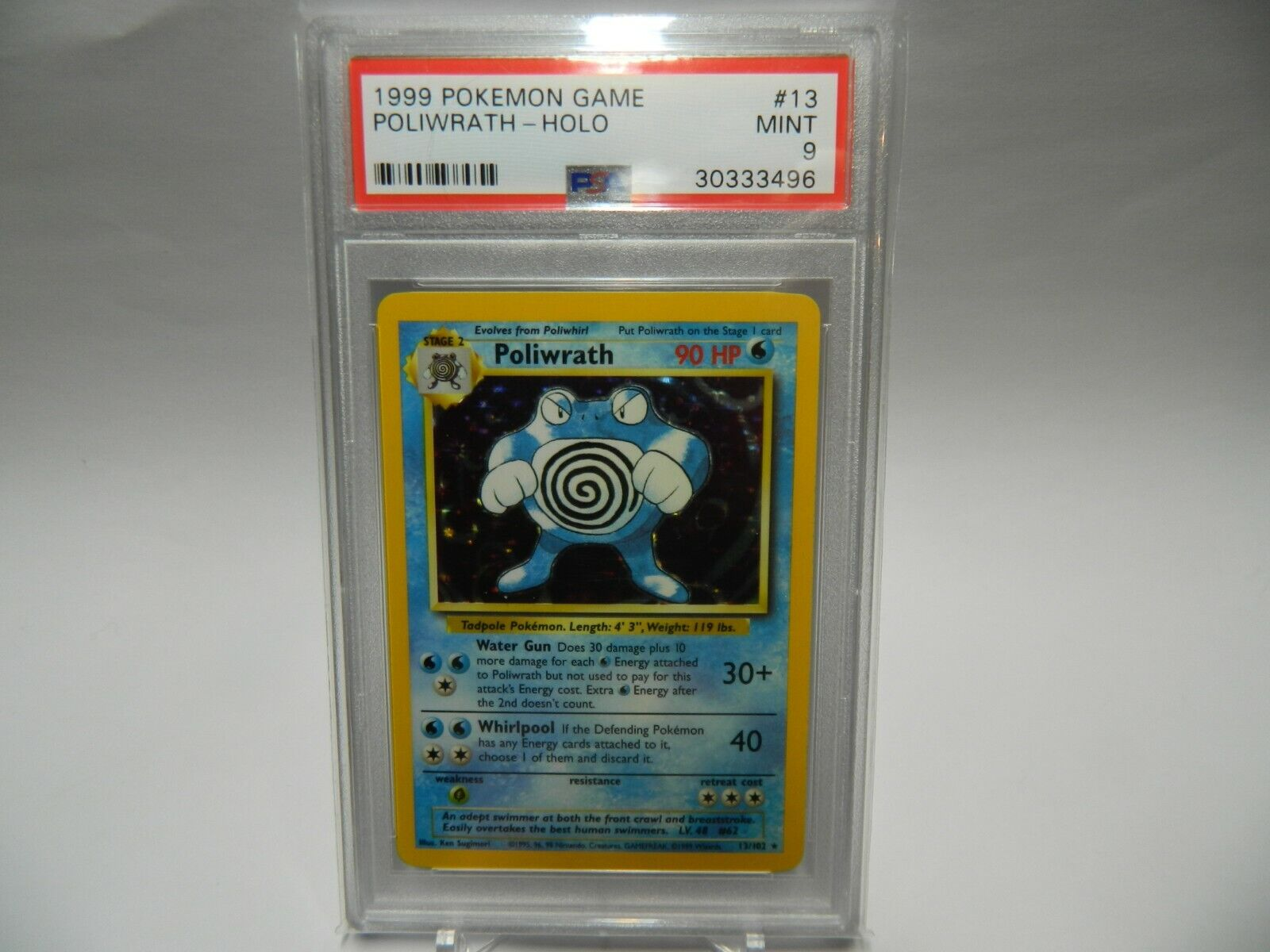 PSA 9 Mint 1999 Pokemon Base Set Poliwrath