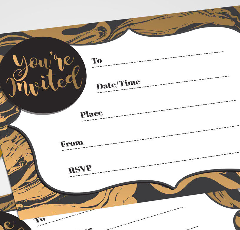 Gold Party Invitations 16 A6 Cards Social Event Invites