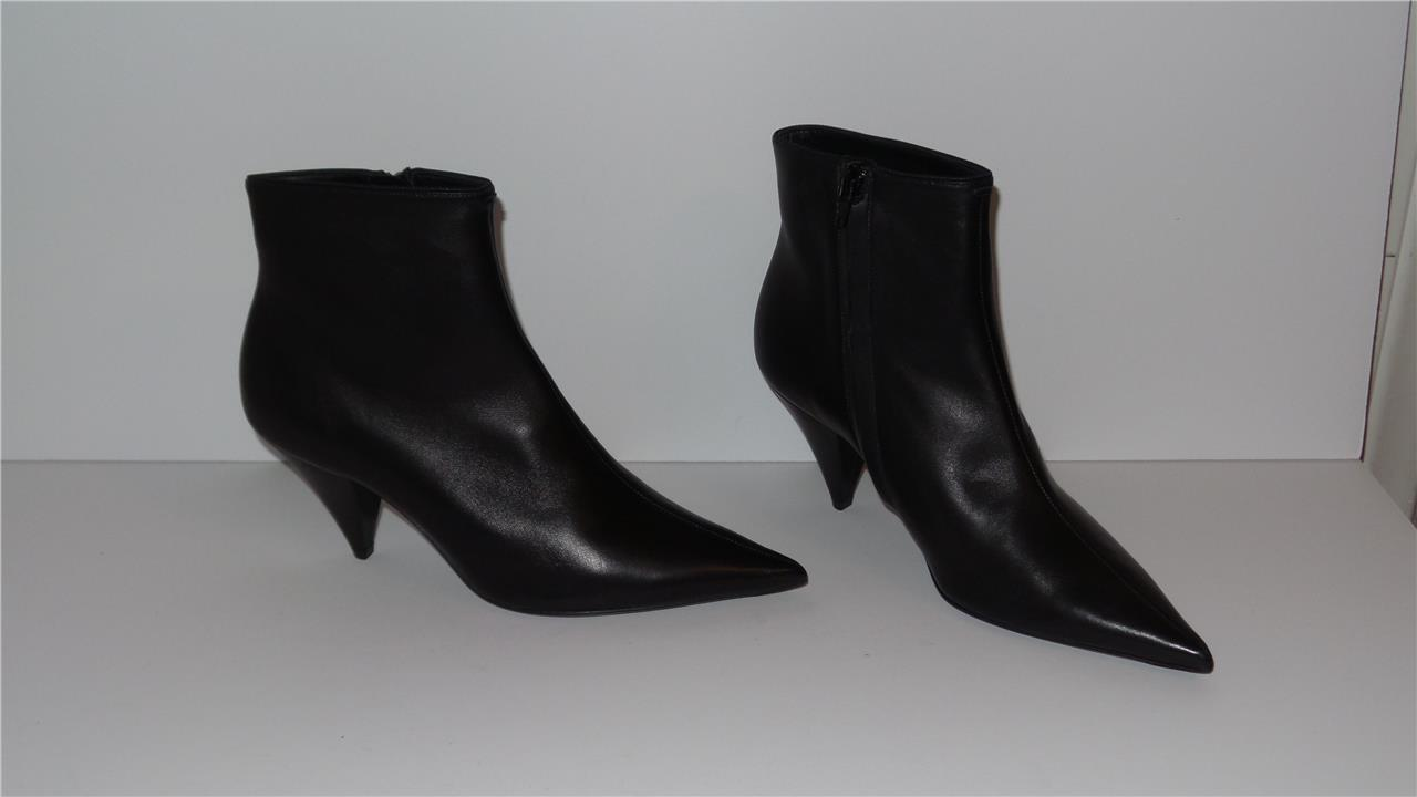 1400 CELINE BLACK SOFT LAMBSKIN LEATHER ANKLE BOOTS 70 SIZE 38