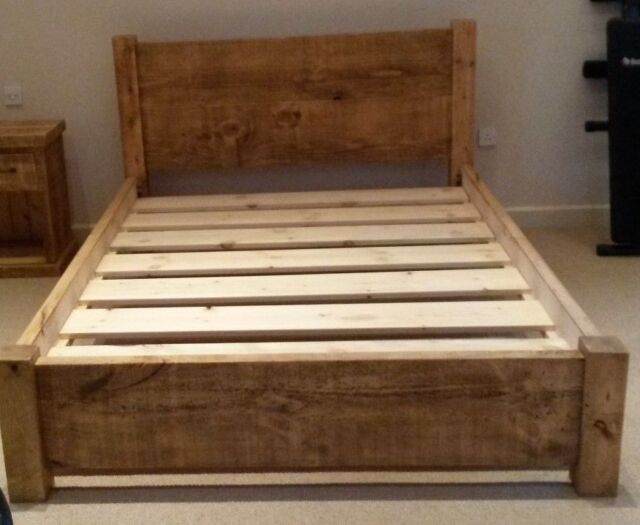 Boston Solid Oak Wood 4ft 6 Double Bed Frame Wooden Bedroom