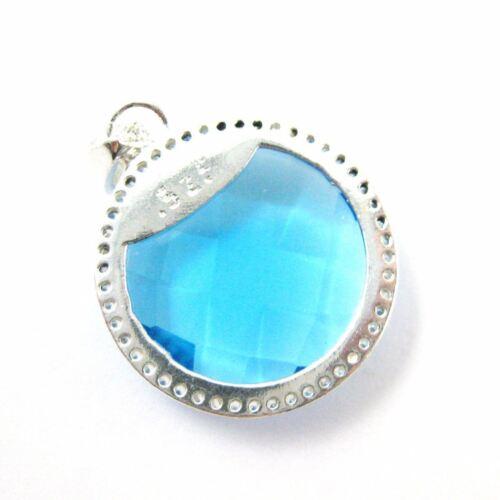 Sterling Silver Round Bezel Blue Topaz Gemstone Pave Cubic Zirconia Pendant