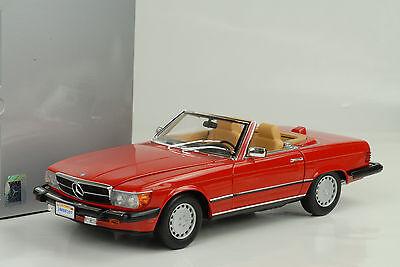 1985 Mercedes-Benz 300 SL US (R107) Cabriolet red rot 1:18 Norev Dealer